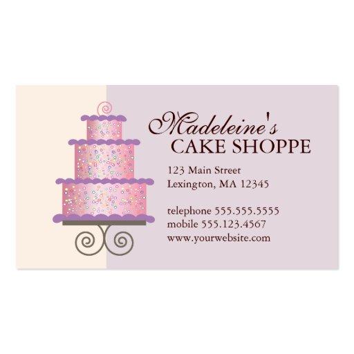 Elegant Cake on Blue Custom Bakery Business Card (front side)