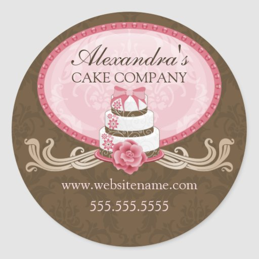 Elegant Cake Pink Brown Bakery Stickers