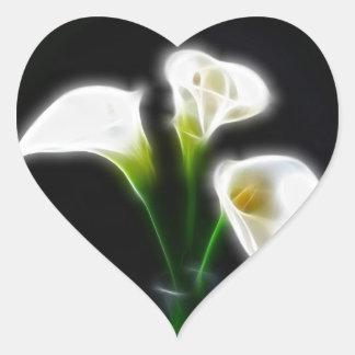 Elegant Calla Lily Flowers 10 Modern Heart Sticker