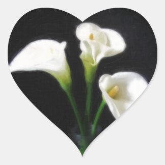 Elegant Calla Lily Flowers 10 Painterly Heart Sticker