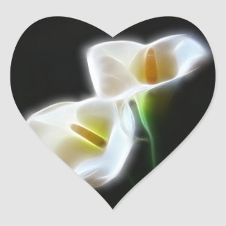 Elegant Calla Lily Flowers 13 Modern Heart Sticker