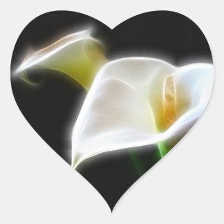 Elegant Calla Lily Flowers 16 Modern Heart Sticker