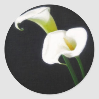 elegant calla lily flowers 1 painterly classic round sticker