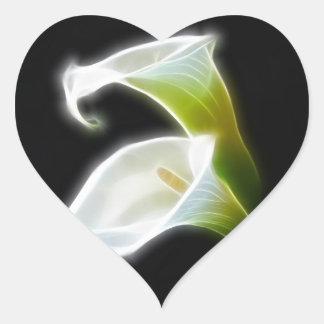 Elegant Calla Lily Flowers 8 Modern Heart Sticker