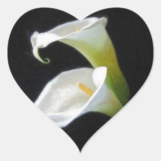 Elegant Calla Lily Flowers 8 Painterly Heart Sticker