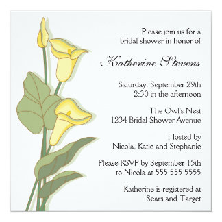 Elegant Calla Lily in Yellow Bridal Shower Card