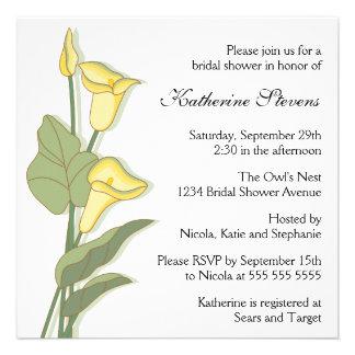 Elegant Calla Lily in Yellow Bridal Shower Custom Invitations