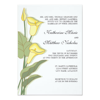 Elegant Calla Lily in Yellow Wedding Invitations