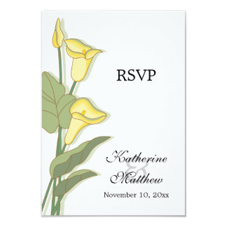 Elegant Calla Lily Yellow RSVP Cards