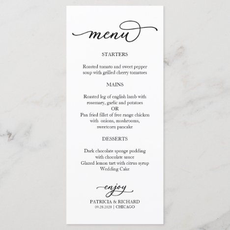 Elegant Calligraphy Black and White Menu