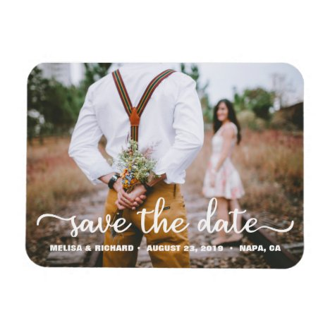 Elegant Calligraphy Couple Photo Save The Date Magnet