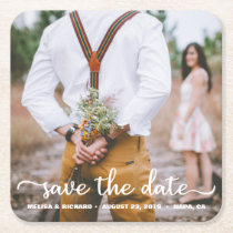 Elegant Calligraphy Couple Photo Save The Date Square Paper Coaster