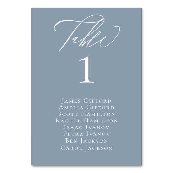 Elegant Calligraphy Dusty Blue Seating Table Card