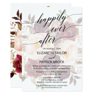 Elegant Calligraphy | Faded Floral Elopement Invitation