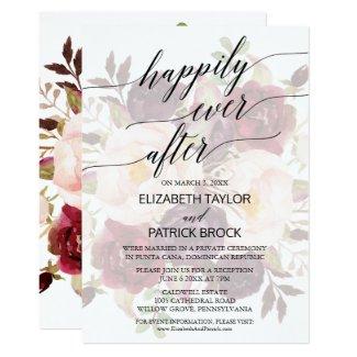Elegant Calligraphy | Faded Floral Elopement Invitation