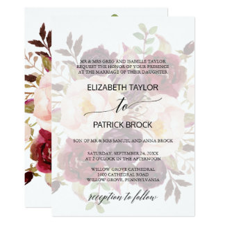 Elegant Calligraphy | Faded Floral Formal Wedding Card