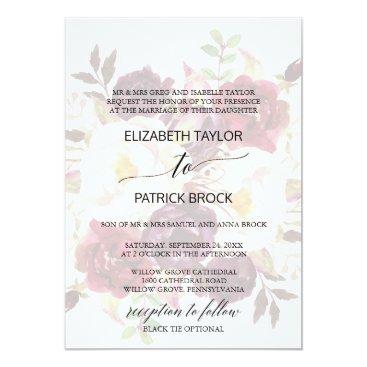 Beach Themed Elegant Calligraphy | Faded Floral Formal Wedding Card