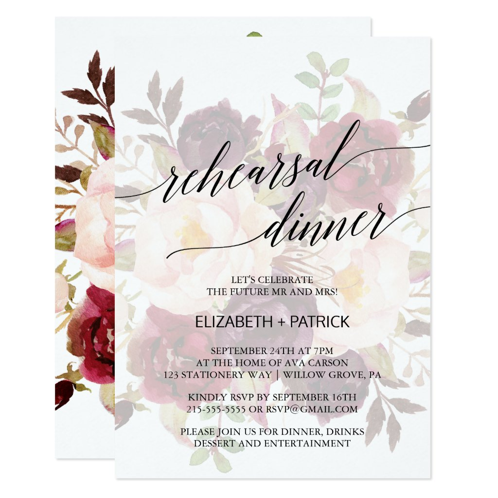 Elegant Calligraphy Faded Floral Rehearsal Dinner Card