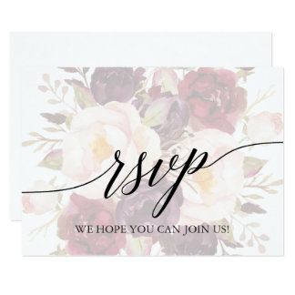 Elegant Calligraphy Faded Floral Song Request RSVP Invitation