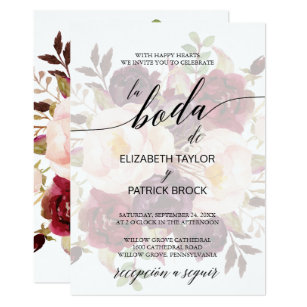 Elegant Calligraphy Faded Fl Spanish Wedding Invitation