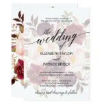 Elegant Calligraphy | Faded Floral Wedding Card at Zazzle