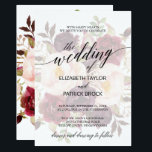 """Elegant Calligraphy   Faded Floral Wedding Card<br><div class=""""desc"""">This elegant calligraphy faded floral wedding invitation card is perfect for a fall wedding. The design features romantic and whimsical typography with a gorgeous bouquet of blush pink,  marsala and burgundy flowers on the backing.  For more wedding invitation wording options,  please see the complete elegant calligraphy wedding collection: https://www.zazzle.com/collections/119271177614507407</div>"""