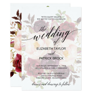 Elegant Calligraphy | Faded Floral Wedding Card