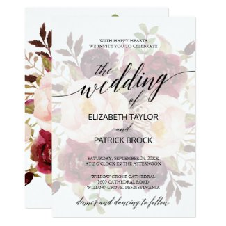 Elegant Calligraphy | Faded Floral Wedding Invitation