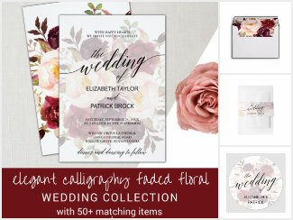 Elegant Calligraphy Faded Floral Wedding Suite
