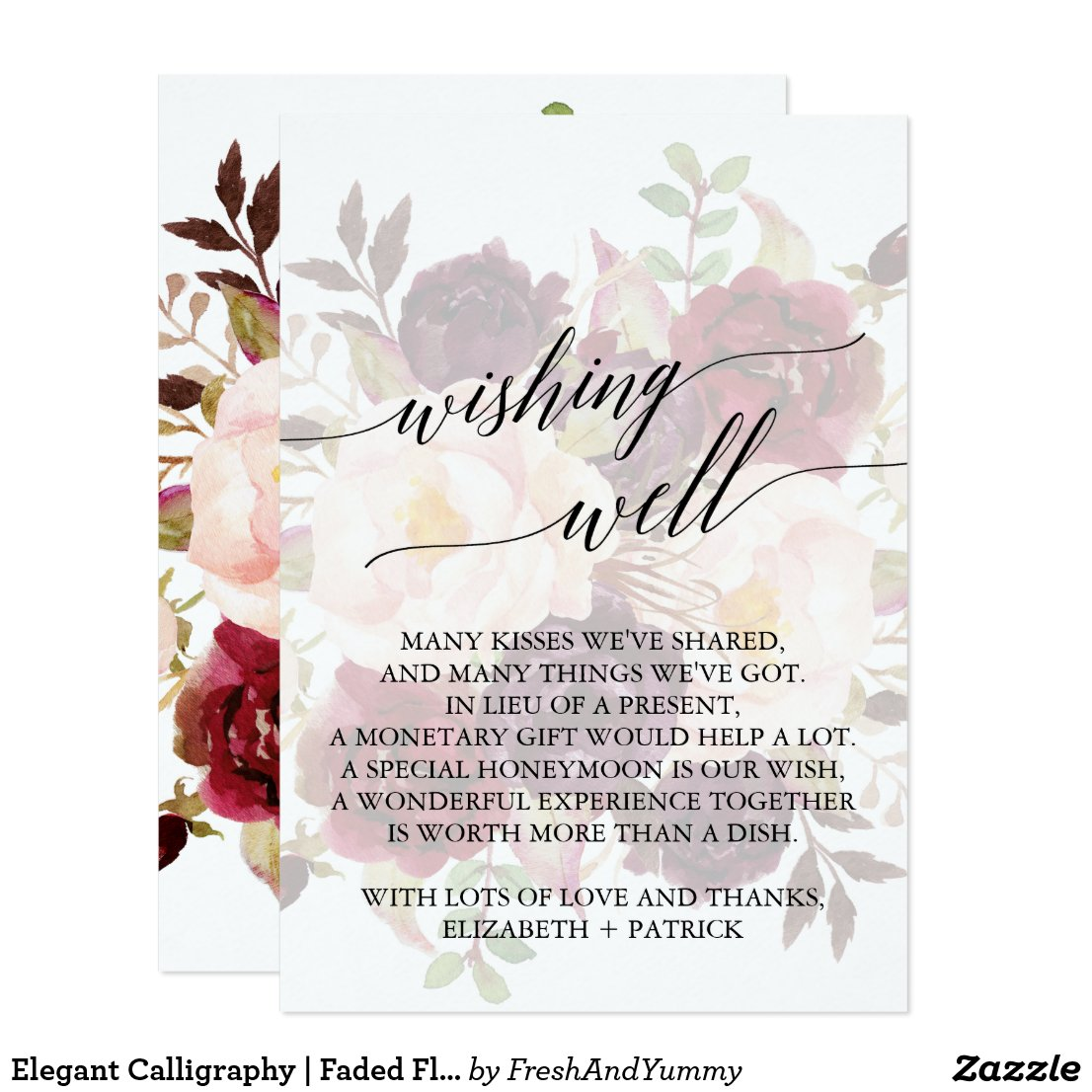 Elegant Calligraphy | Faded Floral Wishing Well Card