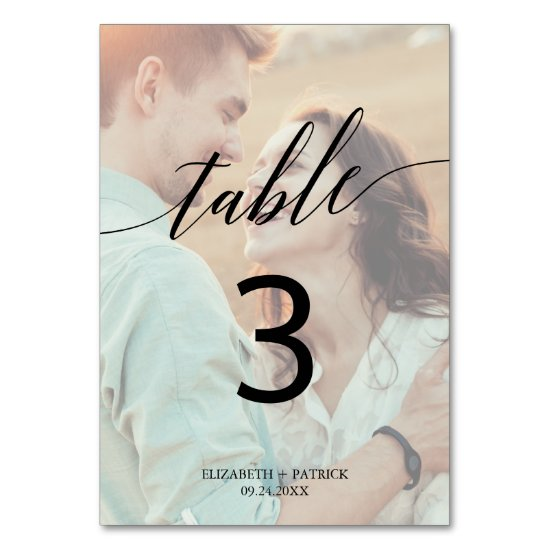 Elegant Calligraphy | Faded Photo Table Number