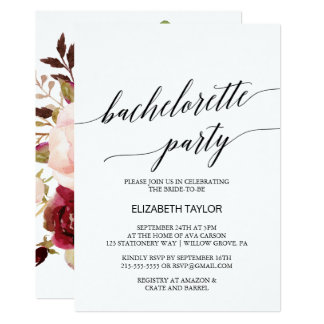 Elegant Calligraphy | Floral Bachelorette Party Card