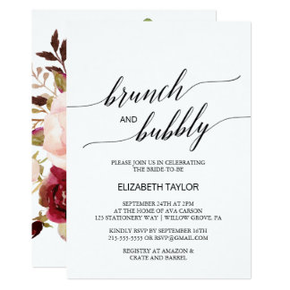 Elegant Calligraphy | Floral Back Brunch & Bubbly Card