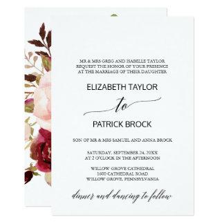 Elegant Calligraphy   Floral Back Formal Wedding Card