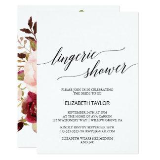 Elegant Calligraphy   Floral Back Lingerie Shower Card
