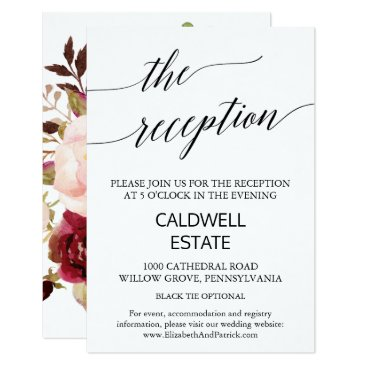 Beach Themed Elegant Calligraphy | Floral Back Reception Insert Card