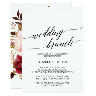 Elegant Calligraphy | Floral Back Wedding Brunch Card