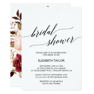 Elegant Calligraphy | Floral Backing Bridal Shower Card