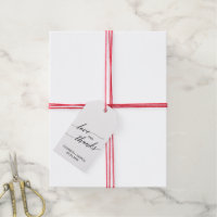 Elegant Calligraphy | Floral Backing Love & Thanks Gift Tags