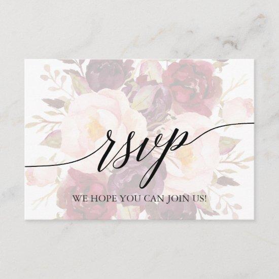 Elegant Calligraphy Floral Menu Choice RSVP Card