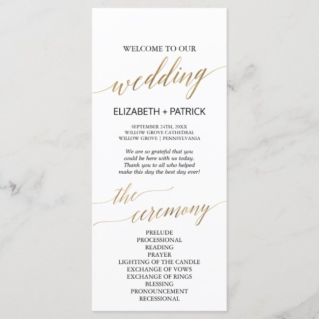 Elegant Calligraphy | Gold Wedding Program