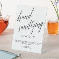 Elegant Calligraphy Hand Sanitizer Station Event Pedestal Sign