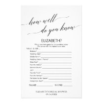 Elegant Calligraphy How Well Do You Know The Bride Flyer