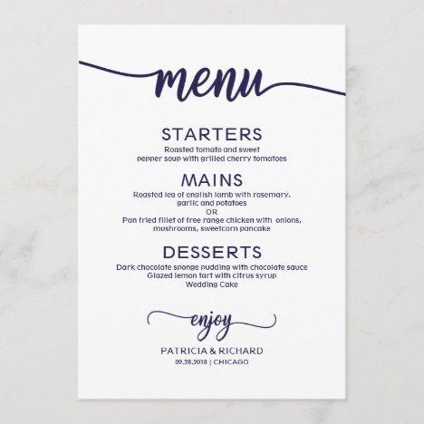 Elegant Calligraphy Navy Blue Script Wedding Menu