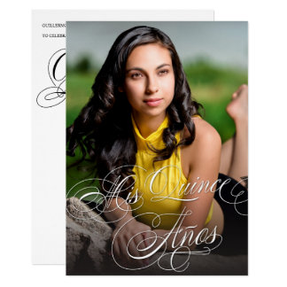 Elegant Calligraphy Photo Quinceañera Card