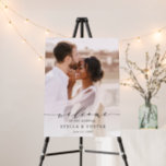 """Elegant Calligraphy Photo Wedding Welcome Foam Board<br><div class=""""desc"""">This chic wedding welcome sign features elegant calligraphy with photos front and back.  For more advanced customization of this design,  please click the Customize Further link to change font,  size,  and color.</div>"""