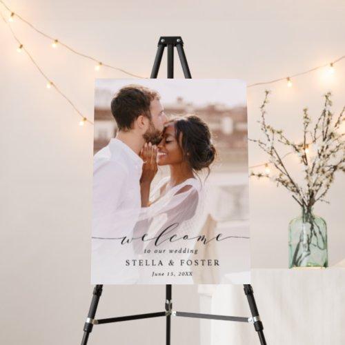 Elegant Calligraphy Photo Wedding Welcome Foam Board
