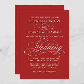 Elegant Calligraphy Red and Silver Wedding Invitation