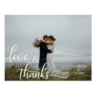 Elegant Calligraphy Script LOVE & THANKS  w/ PHOTO Postcard