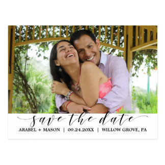 Elegant Calligraphy Script Save the Date Photo Postcard